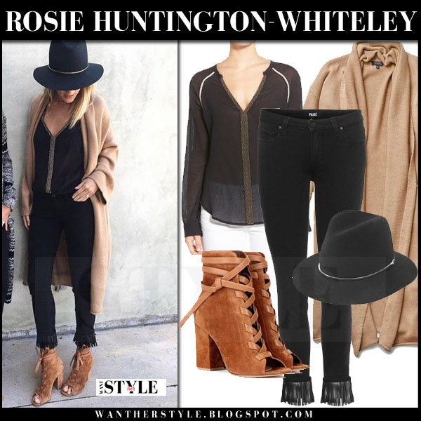 Rosie Huntington-Whiteley in camel long aritzia cardigan, black fringe paige denim verdugo jeans and brown suede open toe gianvito rossi brooklyn ankle boots what she wore model style