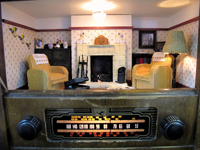 Close up of a miniature scene of a 1940s lounge in a vintage radio.