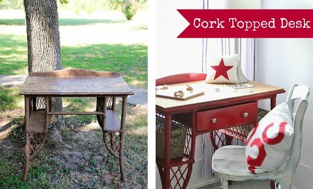 Cork topped red desk by Thistlewood Farm featured on Funky Junk Interiors