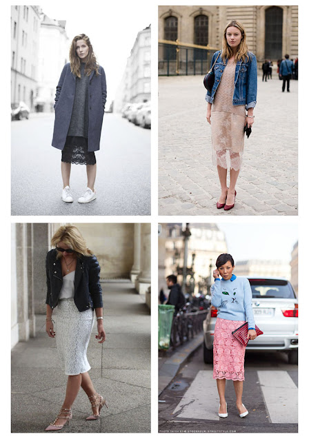 Кружевная юбка карандаш с джинсовкой, косухой и свитшотом