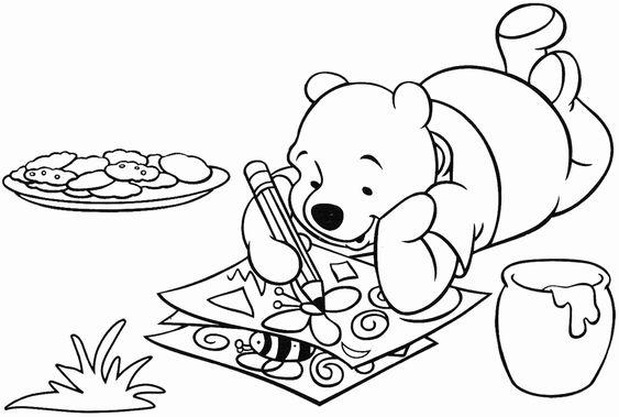 Tranh cho bé tô màu gấu Pooh 14