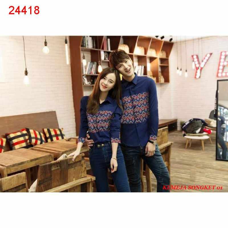 Jual Kemeja Couple Kemeja Songket 01 Navy - 24418