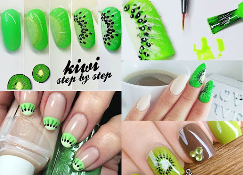 Zdobienie paznokci krok po kroku - kiwi. Owoce na paznokciach. Kiwi na paznokciach. Kiwinails - inspiracje. Paznokcie, zdjęcia.