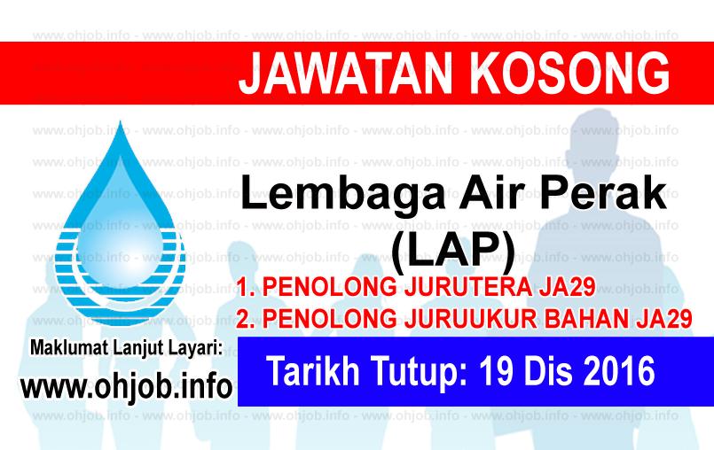Jawatan Kerja Kosong Lembaga Air Perak (LAP) logo www.ohjob.info disember 2016