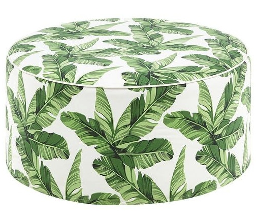 Green Palm Leaves Pouf Ottoman Accent Table Seat