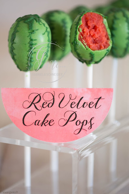 wassermelone cake pop, watermelon cake pop, cake pop, red velvet cake pop