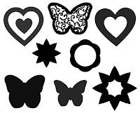 Blumen, Herzen, Schmetterlinge für Cliparts und Cameo