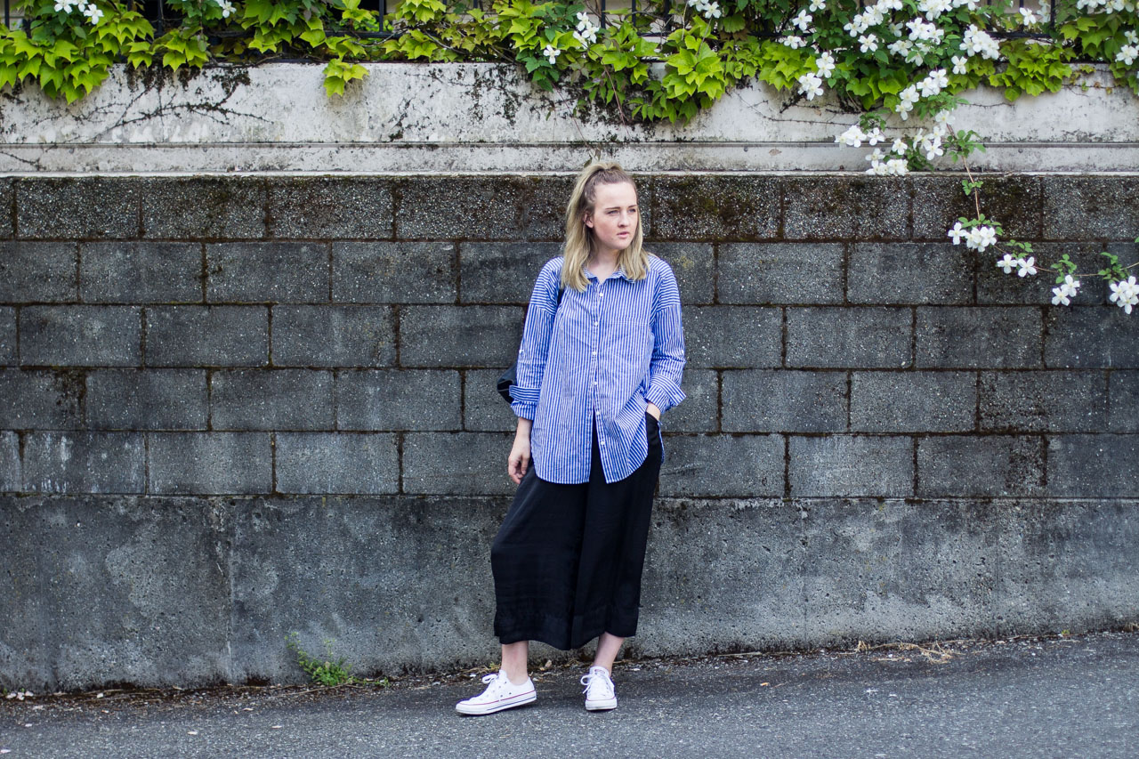 Forever 21 shirt - Zara culottes - Converse - Monki bag - Outfit