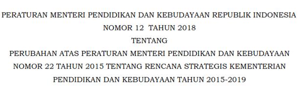 Permendikbud Nomor 12 tentang Perubahan Atas Permendikbud Nomor 22 Tahun 2015 Tentang Rencana Strategis Kementerian Pendidikan Dan Kebudayaan Tahun 2015-2019