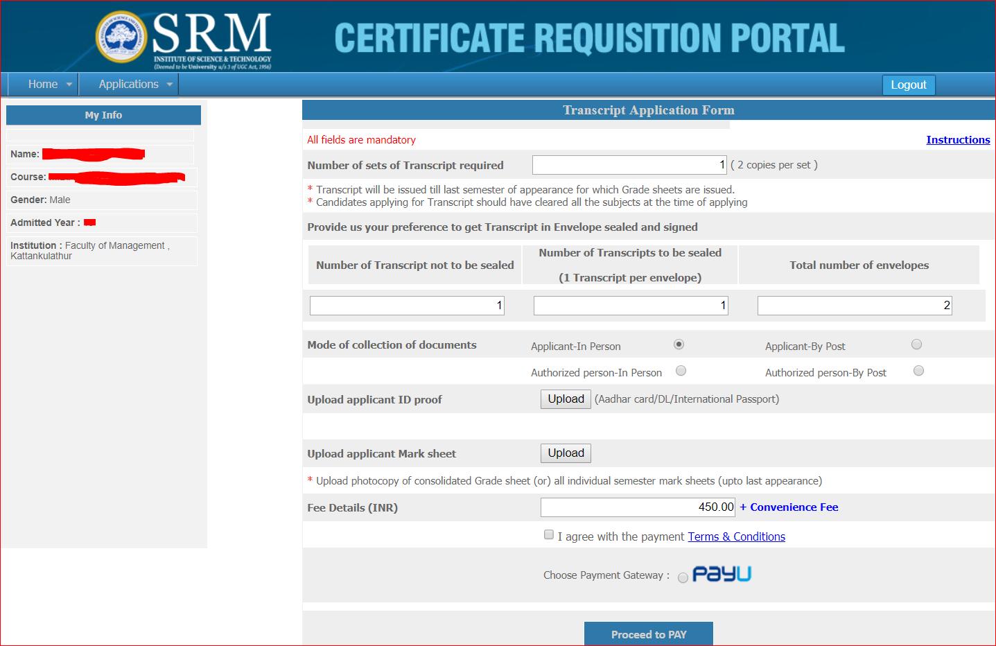 WES - Transcript Application process for SRM university