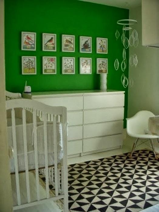 Dormitorios de beb en verde y blanco  Dormitorios