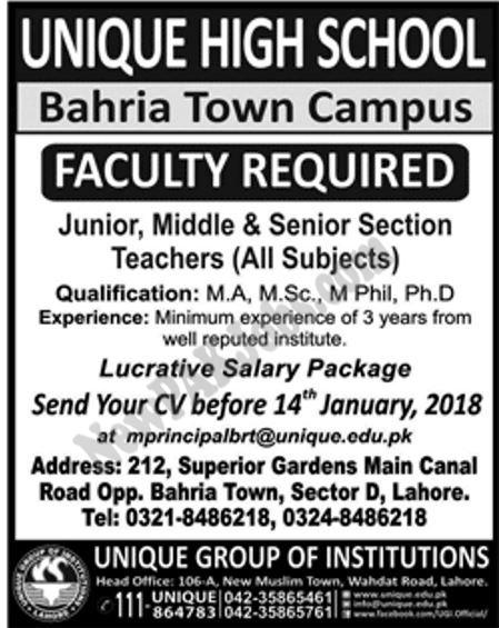 Unique High School Bahria Town Campus Jan 2018