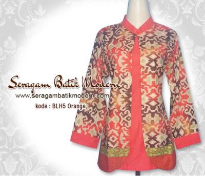Contoh Model Baju Batik Guru Muslimah