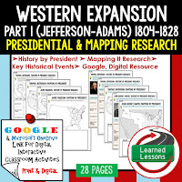 Google, Western Expansion and Conflict,  American History Research Graphic Organizers, American History Map Activities, American History Digital Interactive Notebook, American History Presidential Research, American History Summer School