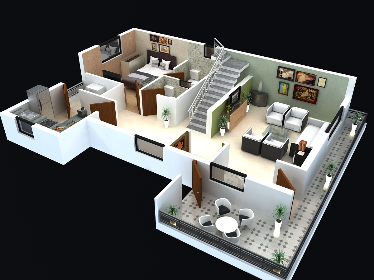 3d pictures 4bedrooms office sitting room and dinning room 3d house plans - Build a house floor plan decoration ...