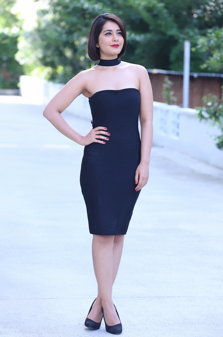 Tollywood Glamours Doll Rashi Khanna Legs Show Photo shoot In Mini Blue Gown