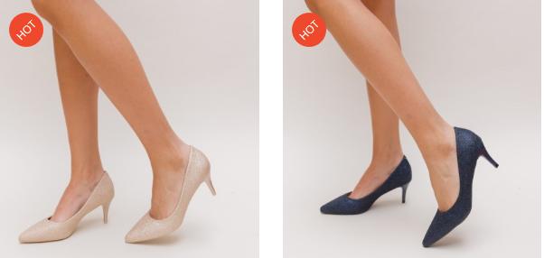 Pantofi cu toc mic subtire eleganti aurii, albastri, rosii superbi