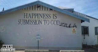 happiness is submission to godzilla hacked church funny