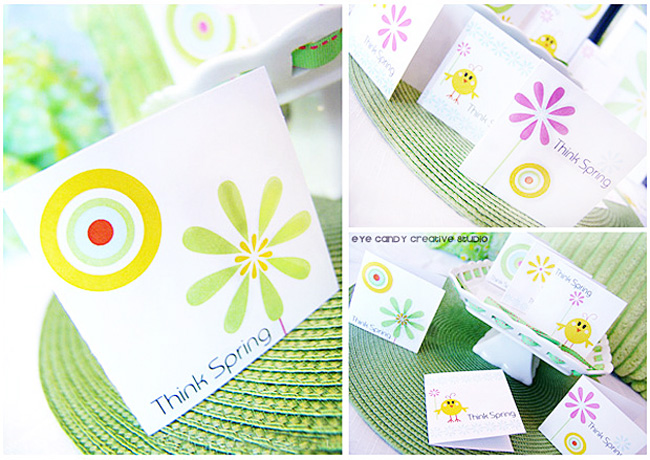 mini spring cards in think spring stationery line, flowers, circle graphics