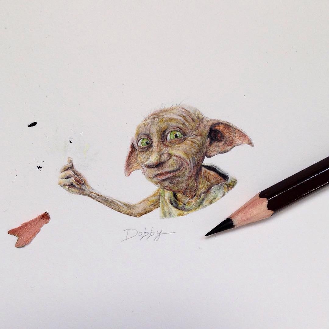 03-Dobby-The-House-Elf-Harry-Potter-Claudia-Maccechini-Miniature-Tiny-Drawings-www-designstack-co
