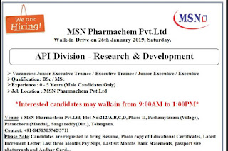 Walk in interview@ MSN R&D department on 26 January