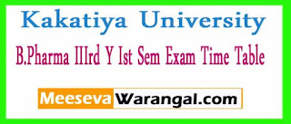 Kakatiya University B.Pharma IIIrd Y Ist Sem Exam Time Table