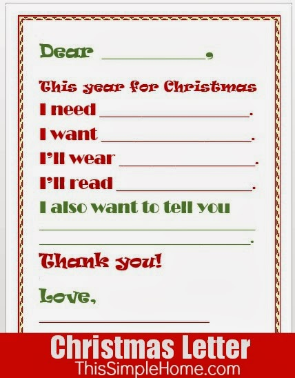 Free children's printable Christmas letter.
