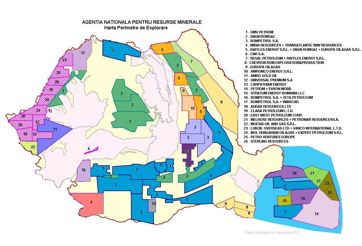 N A Zone Harta Perimetrelor De Explatare A Petrolului Si Gazelor