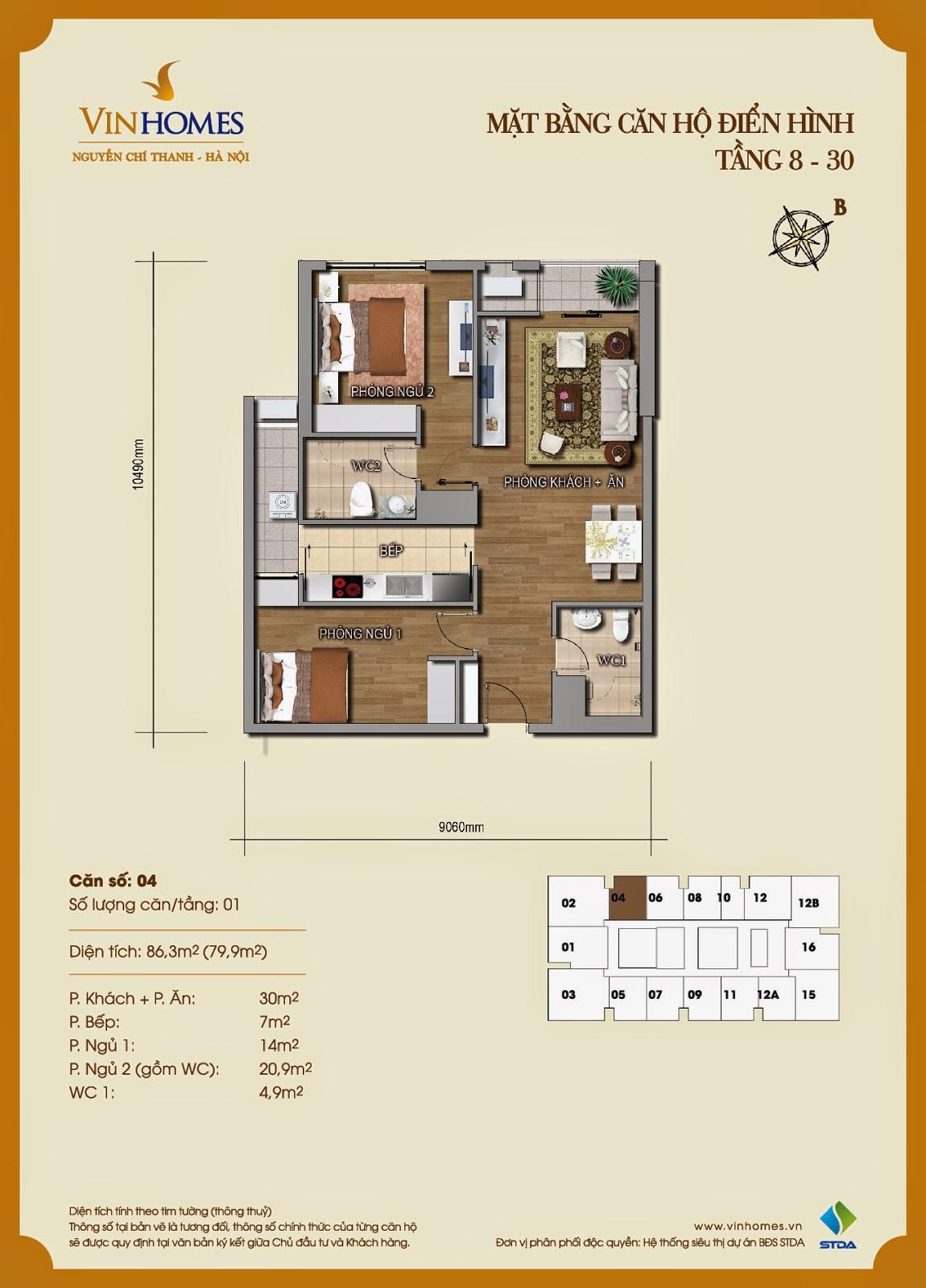 Mặt bằng chi tiết căn hộ 04 Vinhomes Nguyễn Chí Thanh