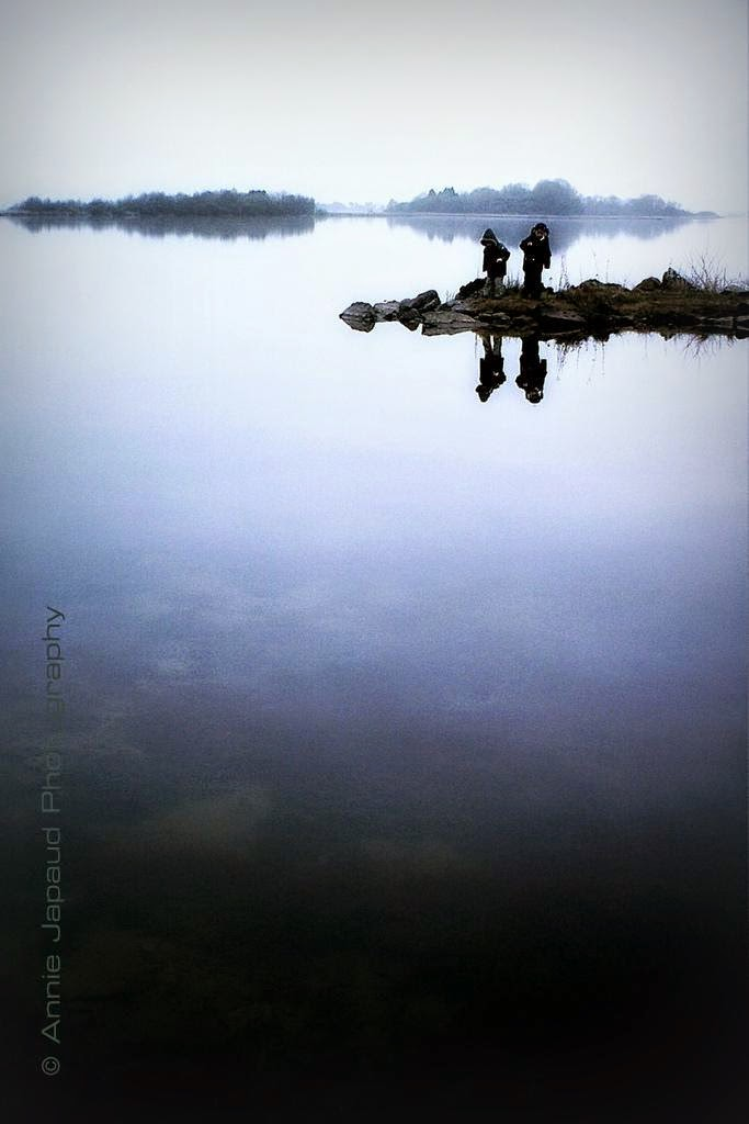 kids, lake, reflection