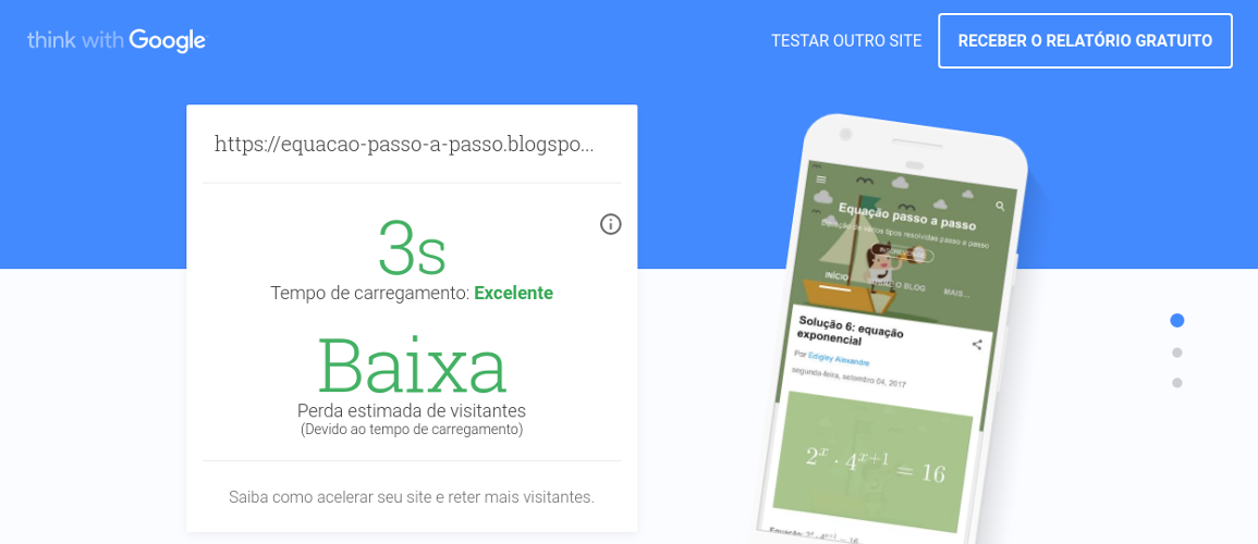 Teste de site Think With Google