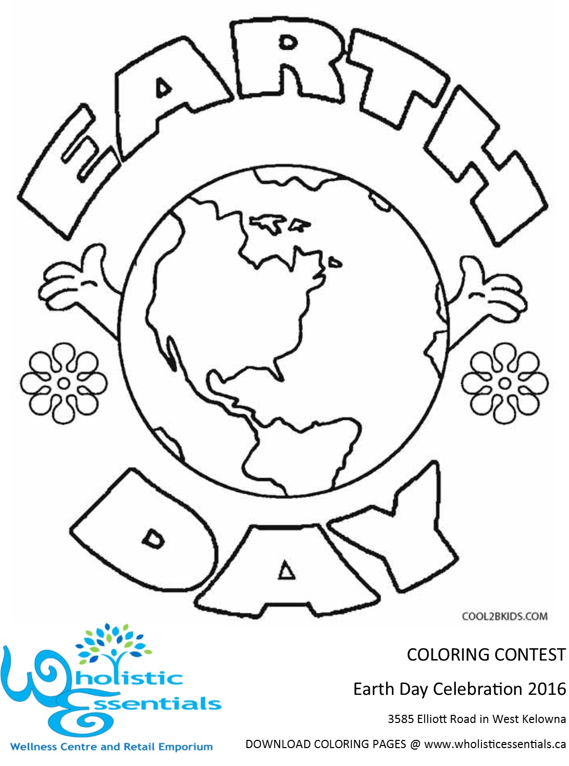 Wholistic Essentials Earth Day Coloring Contest Pages