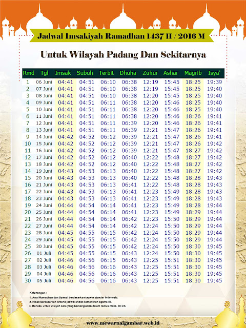 Jadwal Imsakiyah Kota Padang 2016 1437 H