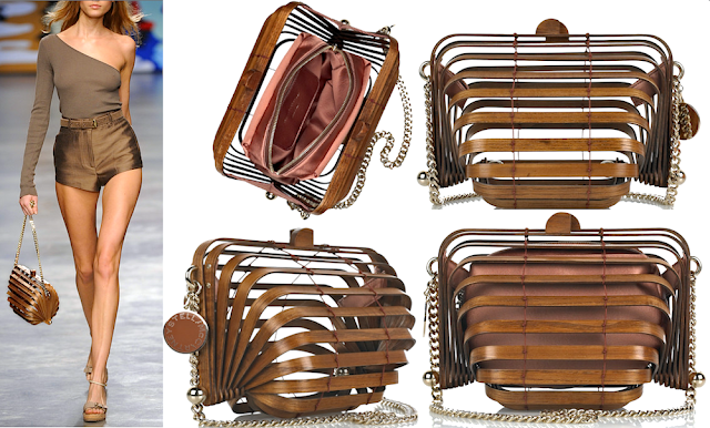 Stella McCartney Wooden accordion clutch bag - Spring Summer 2010