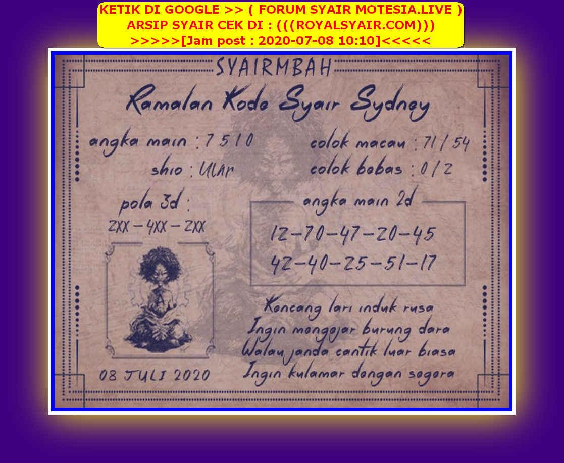Kode syair Sydney Rabu 8 Juli 2020 114