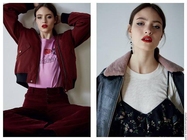 Moda invierno 2017 ropa de mujer. Invierno 2017 moda mujer 2017. Camperas, pantalones, vestidos y tops lenceros.