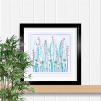 Grass and seed heads print, prick stitch on card embroidery pattern.