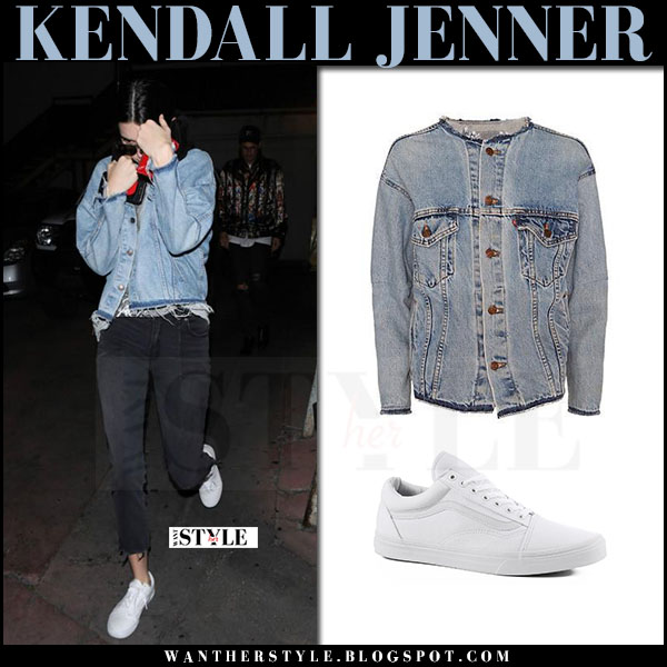 Kendall Jenner in denim re/done jacket, black jeans and white vans sneakers what she wore april 2017