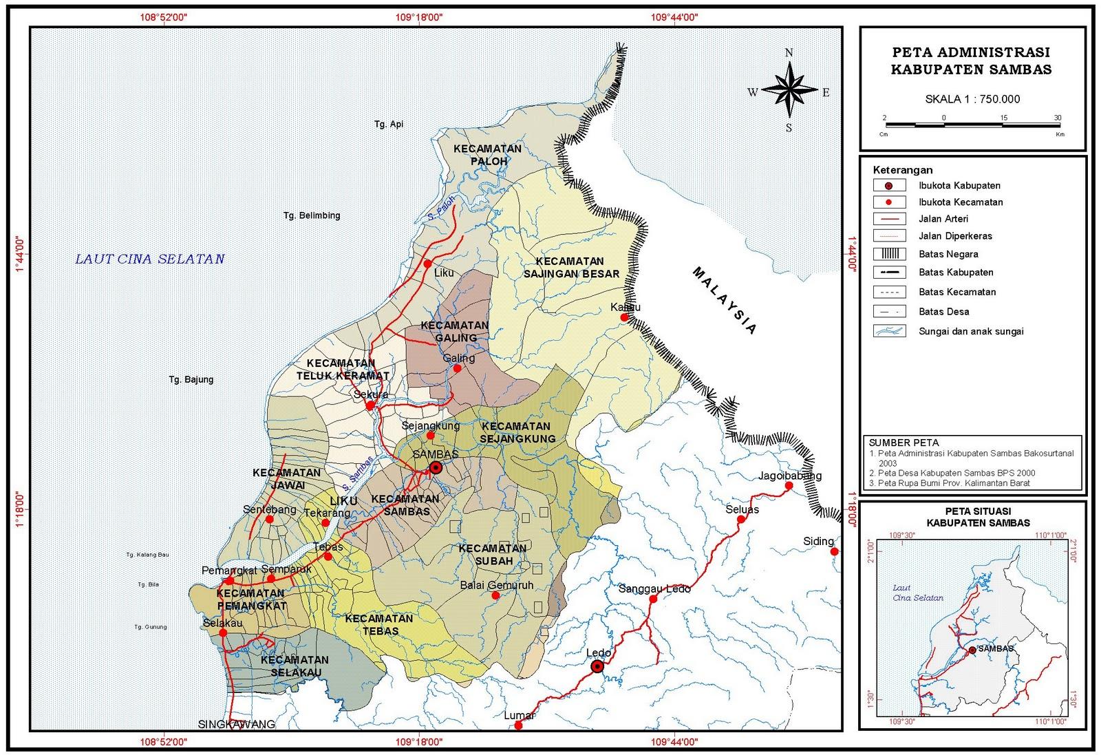 Peta Kota: Peta Kabupaten Sambas