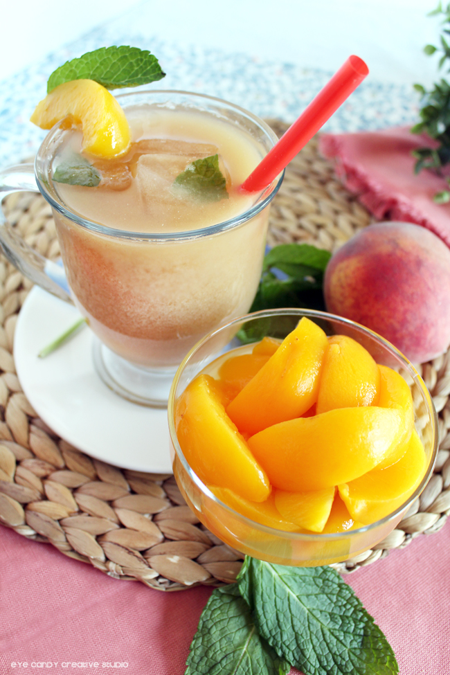 peaches, ice tea, spring sip, peach ginger iced latte, summer sip