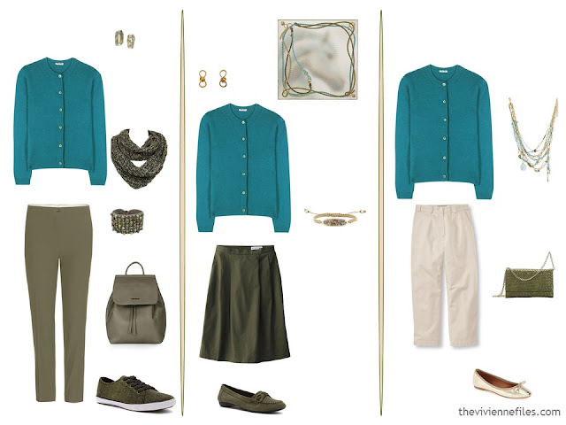 3 ways to wear a teal cardigan with olive and beige