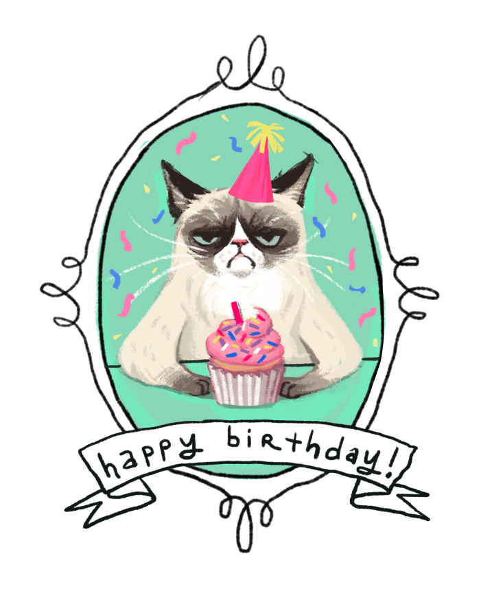 Cat angry Happy Birthday