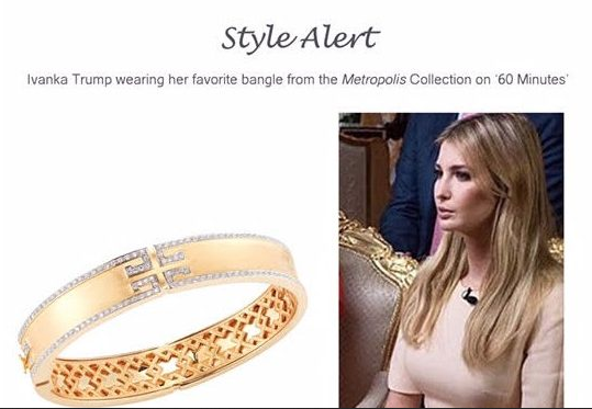 In Other White House Corruption News Trumps Daughter Ivanka Used Her 60 Minutes Appearance To Hawk A Ten Thousand Dollar Bangle That She Wore On The