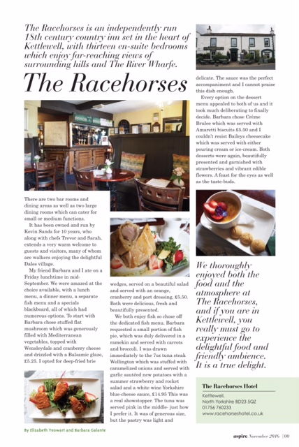 Aspire Magazine. Review of the Racehor=ses Hotel, Kettlewell, North Yorkshire