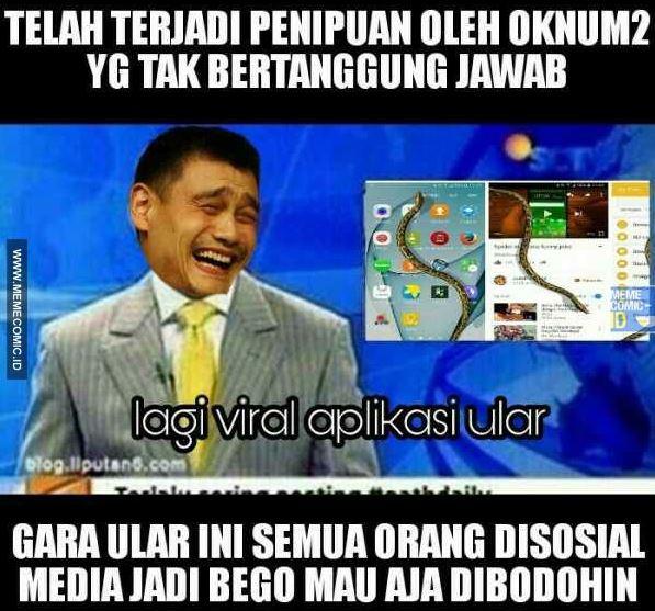 8 Meme Gara-Gara Viral Aplikasi Ular di Layar ini sindir kamu yang ketipu ketik #RAN di FB
