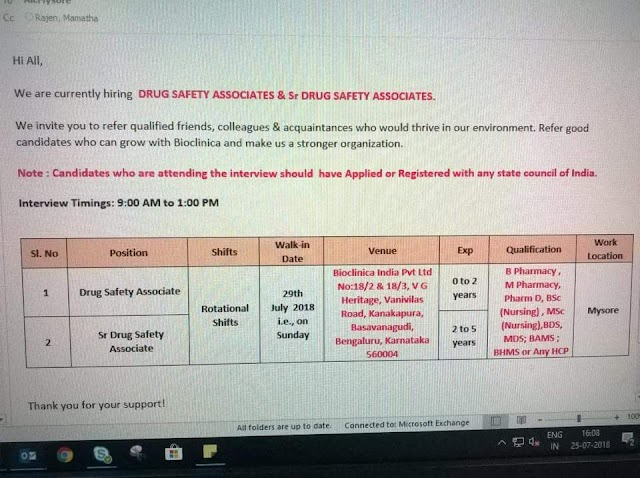Bioclinica India Pvt Ltd - Drug Safety Associates & Sr. Drug Safety Associates