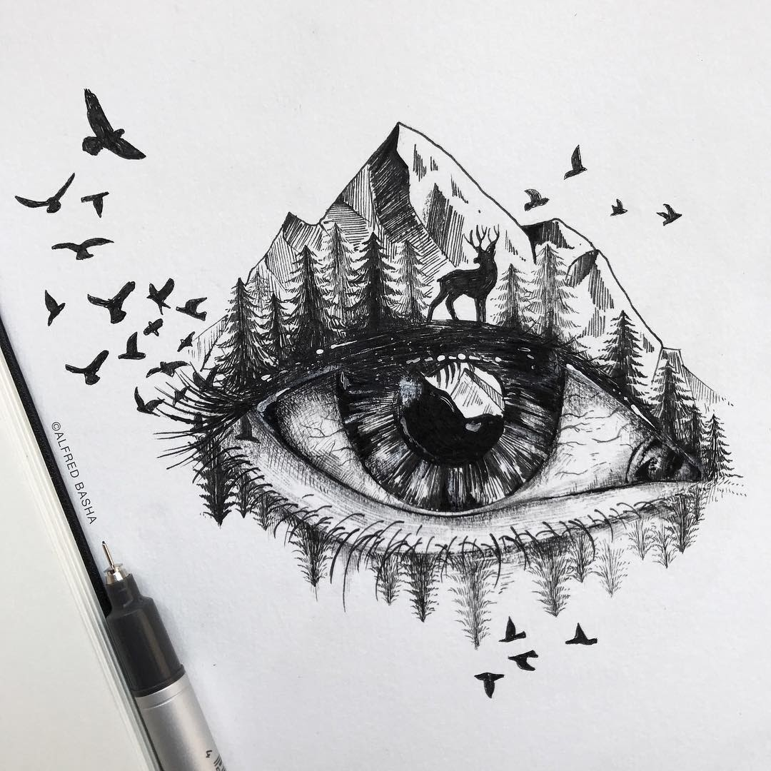 10-Autumn-is-here-Alfred-Basha-Diverse-Black-and-White-Surreal-Drawings-www-designstack-co