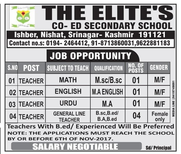 The Elite's Co-Ed Secondary School has teaching job vacancies