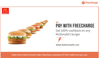 McDonalds 100% Cashback Offer - FreeCharge