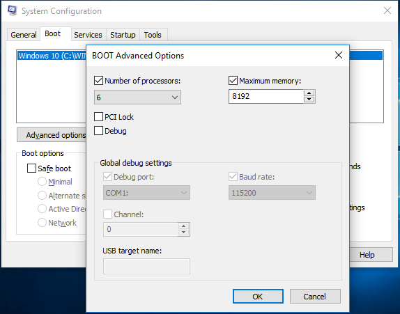 Boot Options in System Comfiguration